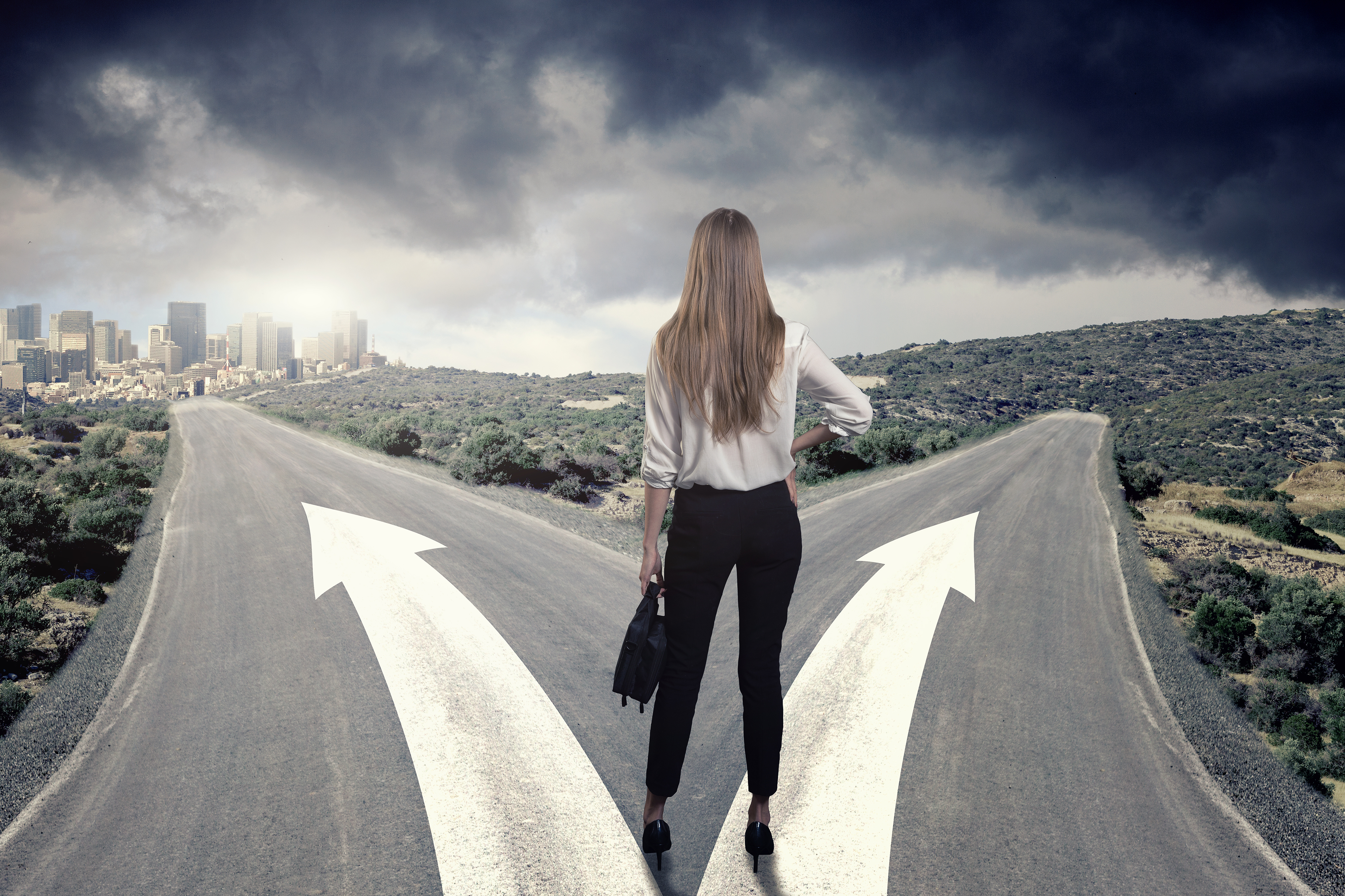 A business woman thinking which way to choose. Business success