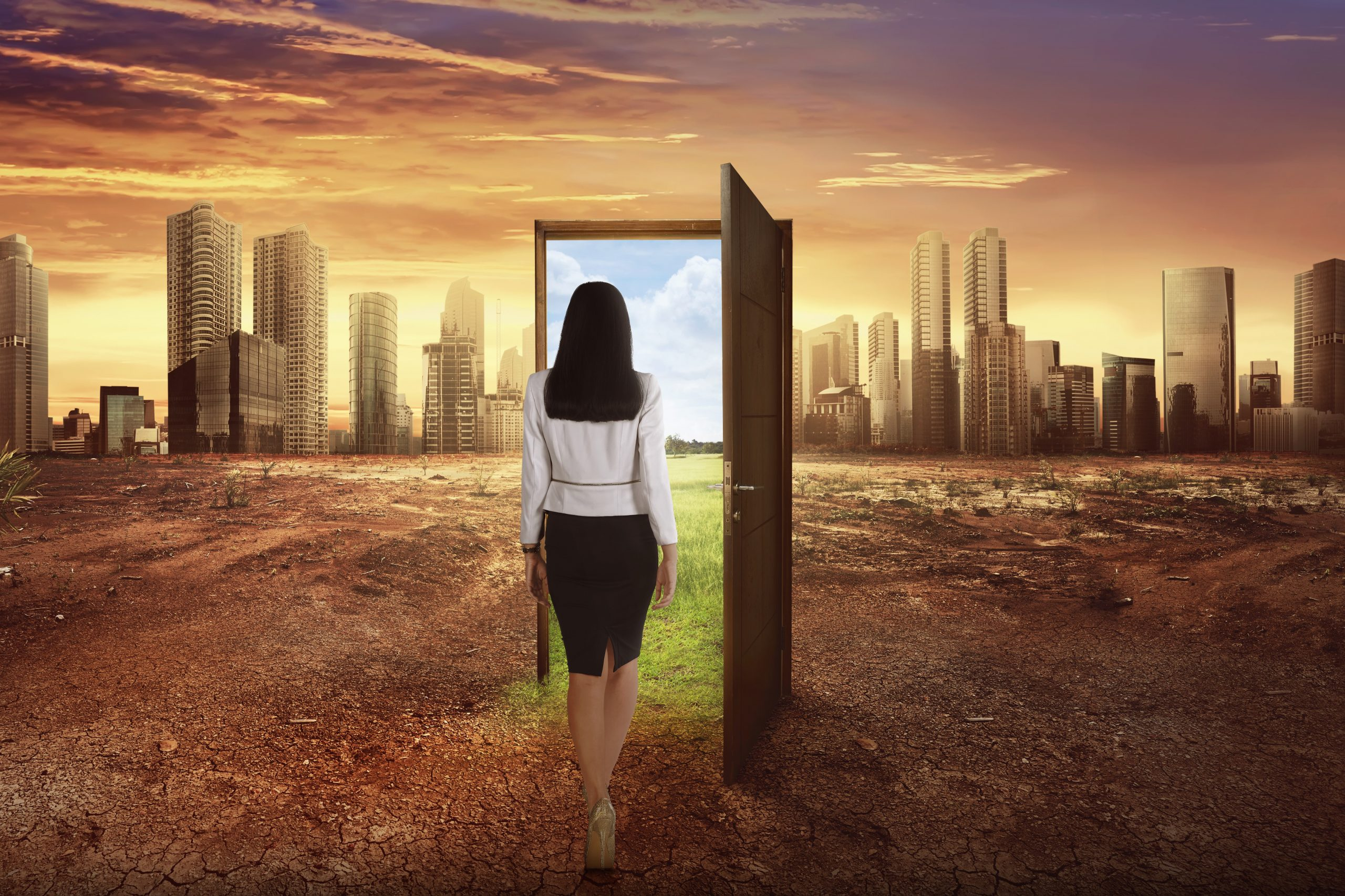 Asian business woman walking to the open wooden door with green environment leaving modern city