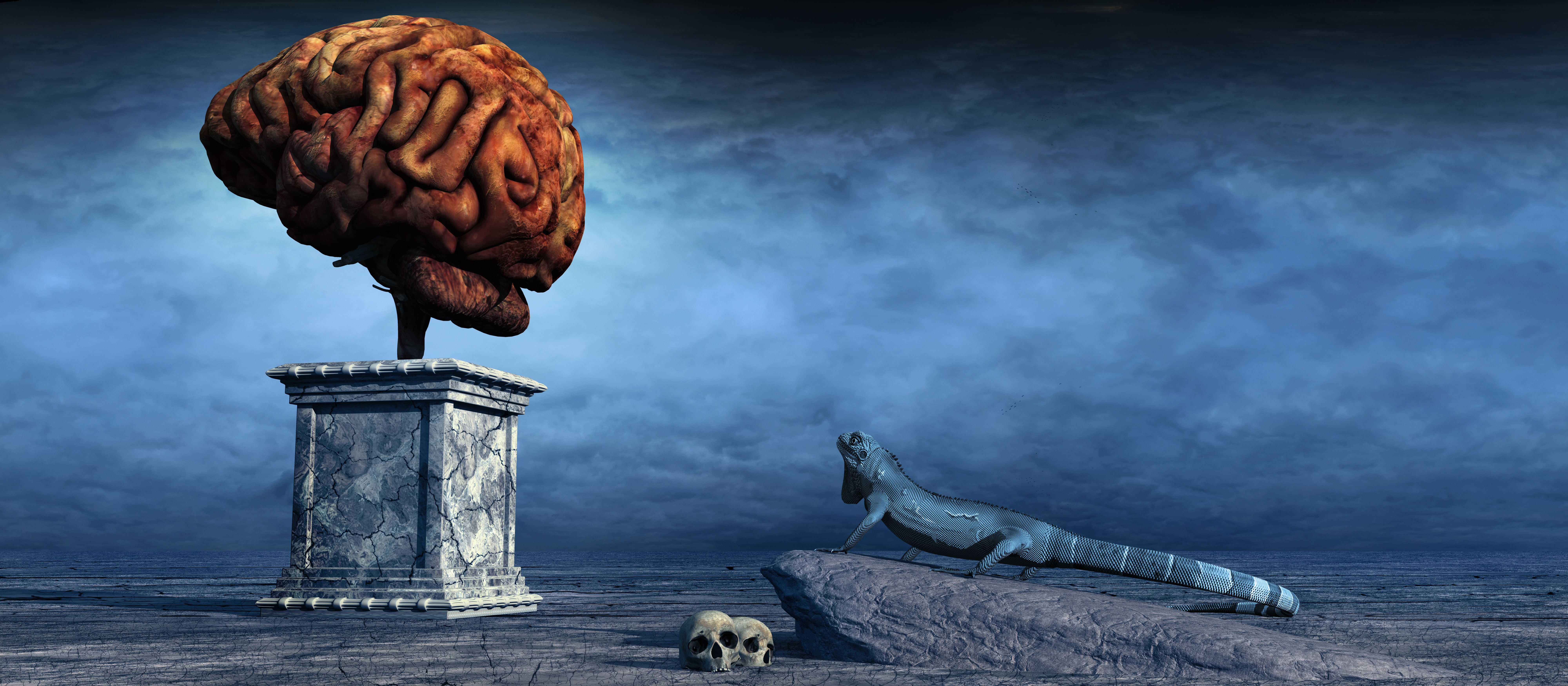 Surreal scene with a lizard and a monument depicting the brain